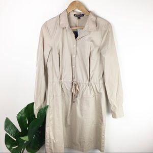Brooks Brothers | Khaki drawstring shirt dress